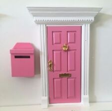Pink Wooden Fairy Door with Magic Mail Box - Magic Key -Fairy Dust+2 Bonus Gifts