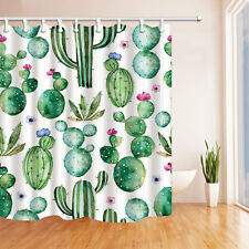 Vintage Shower Curtain liner Cactus Flowers Print for Bathroom 70 Inches Long