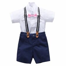 Page Boy Christening Wedding 4pc Navy Linen Blend Suit with Braces 6 Ms - 5 Yrs