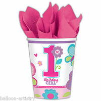 8 Sweet Pink Butterfly Girl's 1st Birthday Party Disposable 266ml Paper Cups