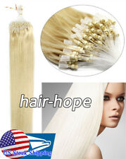 Loop Micro Ring Bead Tip Remy Human Hair Extensions Straight Light Blonde 16Inch