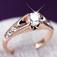 18K ROSE GOLD GF SOLID 1CT ROUND SOLITAIRE WOMENS WEDDING RING Simulated Diamond