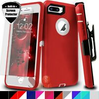 For iPhone 7 8 Plus Shockproof Hard Cover Case With Belt Clip + Screen Protector