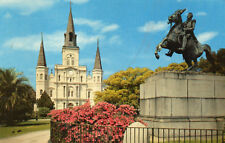 postcard USA New Orleans St Louis Cathedral and Jackson Monument  unposted