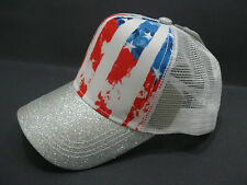 Claire's Distressed American Flag Glitter Trucker Hat Baseball Hat NWT
