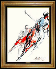 LeRoy Neiman Original Acrylic Painting Signed Horse Racing Artwork Polo Sports