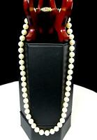 """CULTURED FRESHWATER 49 WHITE 5MM PEARL GOLD LOCKING CLASP 17"""" NECKLACE"""