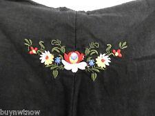 DEREK HEART Black Linen Pants XL / 32 Drawstring Wide Straight Leg Embroidered