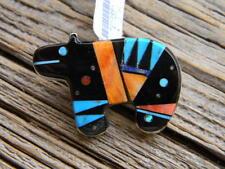 "Sterling silver Navajo multi stones inlaid pin pendant .free 18"" cobra chain"
