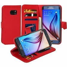 Jumbl Slim Leather Wallet Case for Samsung S6 Edge - Red