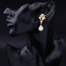 Champagne CZ Crystal Woman's Pearl Earrings Crystals Long Drop Wedding Earrings