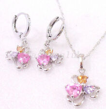 Pink Butterfly CZ Cubic White Gold Plated Wedding Hoop Earrings Necklace Set