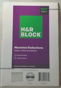 H&R Block Tax Software 2020 Deluxe Federal State w/Bonus 1336608-20 735290107039