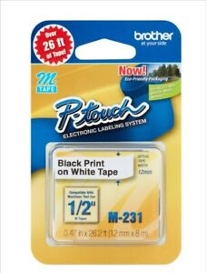 Double Pack - Brother P-Touch M-Tape 1/2 inch - BLACK on WHITE --  M-2312PK