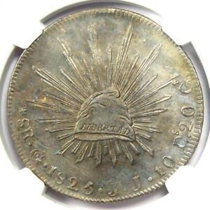 1825-GO JJ Mexico Republic 8 Reales Coin 8R - NGC AU Details - Rare Date!