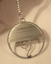 Handsome Wire Wound Swirled Openwork Circle Silvertone Pendant Necklace ++++