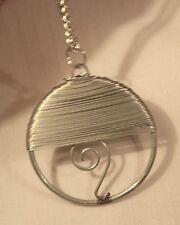 Handsome Wire Wound Swirled Openwork Circle Silvertone Pendant Necklace ++++