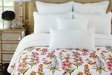 Wildflowers Lilacs Butterflies 3pc King Quilt Set Pink Lavender White