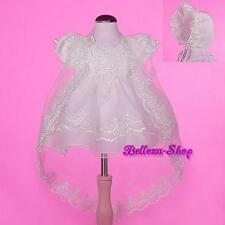 Pearl Ivory Organza Baptism Christening Gown Dress Cape Bonnet Baby 12-18m CN008