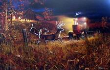 """Jim Hansel """"Field of Dreams II"""" Deer Tractor Art Print  29"""" x 19"""" SN"""