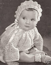 Vintage Knitting PATTERN to make Baby Bonnet Sweater, Booties Set Knitted5143