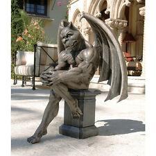 Medieval Muscular Thinker Gargoyle Gothic Garden Statue