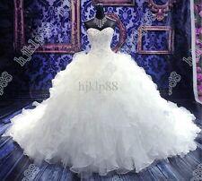 Luxury Royal Puffy Catherdarl Train Pleated Wedding Dresses Bridal Gowns Organza