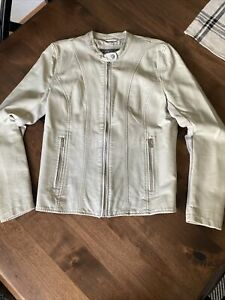 Womens Kenneth Cole Reaction Faux Leather Tan Moto Jacket Large