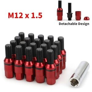 20 Red Wheel Lug Bolts M12x1.5 Shank Cone Conical Seat Extend Nuts + Key for BMW