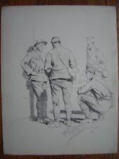 Lithographie Litho signée dédicacée Lucien JONAS  Soldats américains anglais WW1