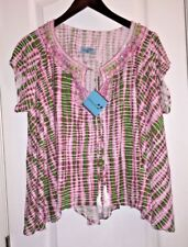 NWT $298 Letarte Tie Front Pink Beaded Tunic Swimsuit Cover-up Hawaii Women's