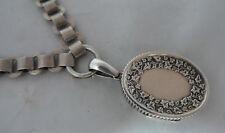Victorian Silver Locket & Collar Necklace 1852 44g 45.5cm A602017