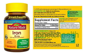 (180 Tablets) Nature Made Iron 65 mg (325 mg Ferrous Sulfate) Dietary Supplement
