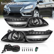 for 2013-2015 Nissan Sentra Clear Fog Light Front Bumper Lamp+Wiring+Switch PAIR