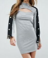 ASOS Mini Dress With Popper Sleeve And Cut Out Stretch jersey Turtle neck Size