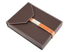 Brown Leather 10 Cigar Travel Humidor With Chrome Buckle and Humidifier