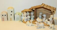 Precious Moments Christmas Porcelain Nativity Full 15 Piece Set With Manger 1982