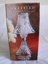 "Imperial Crystal Madeleine Hurricane Lamp Storm 11"" High Lead Crystal Two Piece"