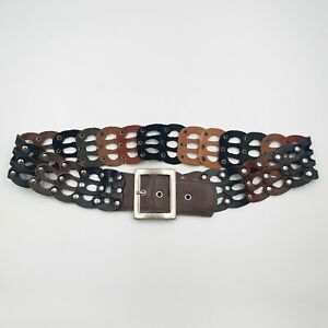 Womens Size S Brown Black Cut-Out Studded Leather Medium Width Waist Belt