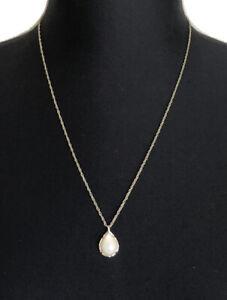 Kendra Scott Kiri Faux White Stone Tear Drop Pendant Gold Tone Necklace