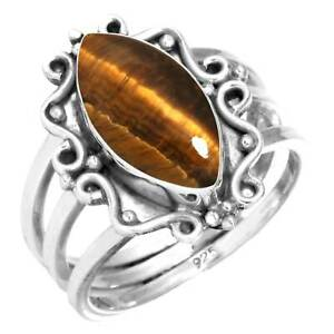 925 Sterling Silver Ring Natural Tiger Eye Handmade Jewelry Size 11.5 WZ61002