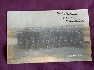 VINTAGE WW 1 ERA REAL PHOTO POSTCARD, No1 PLATOON NORTHANTS