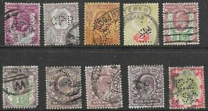 King Edward VII  Definitive Stamps x 10. PERFINS as per scan r9096