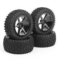 4Pcs Set Rubber Front&Rear Tires Wheel Rim For RC 1/10 Buggy Off-Road Car