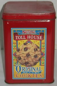 Vintage Nestle Toll House Morsels Cookies Tin Storage Canister