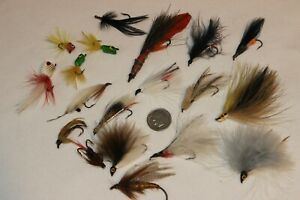 Lot of 19 Vtg Hand Tied Flies Fly Rod Fishing Lures Some Cork Poppers & Streamer