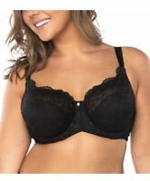 Curvy Couture Everyday Glamour Lacy Unlined UW Bra 1207 NWT $62 Black US Sz C-H