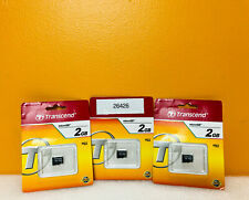 Transcend TS2GUSDC (Lot of 3) 2GB MIcro SD Cards. New!