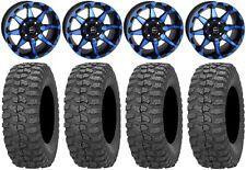 "STI HD6 14"" Wheels Blue/Black 30"" Rock-A-Billy Tires Polaris RZR 1000 XP"