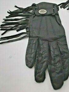 Harley Davidson Leather Gloves Ladies Large Fringe Emblem Black Hook & Loop